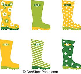 Spring wellington rain boots set isolated on white