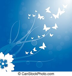Spring, white butterflies flying