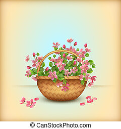 Bouquet of pink spring flowers and leaves in wicker basket with woven pattern. Vector floral cherry blossom greeting card in retro style. Perfect for wedding, greeting or invitation design