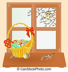 Spring window with Easter basket vector.eps