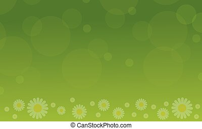 Spring with flower on green background