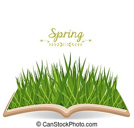Spring with grass in the book