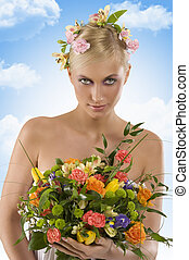 spring woman with flowers