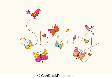 Spring word banner with butterflies and birds
