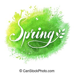 Spring word lettering