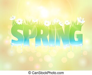 Spring word with flowers and grass.