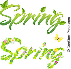 Spring Words - 2 Spring Words, Isolated On White Background,...