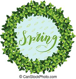spring wraith and lettering - fresh green leaves forming ...
