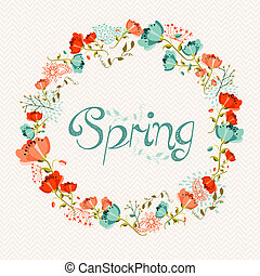 Spring wreath flower composition - Springtime greeting card...