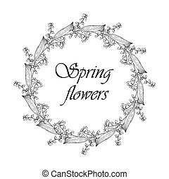 Spring wreath of lily of the valley flowers