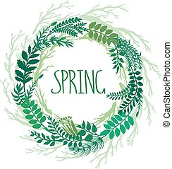 Spring wreath with branches and leaves or plants. Vector hand drawn branches on round frame.