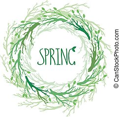 Spring wreath with branches and leaves. Vector hand drawn tree branches set, branches on round frame.