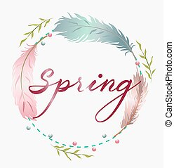 Spring wreath with colorful feathers. Place for text