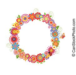 Spring wreath with funny flowers