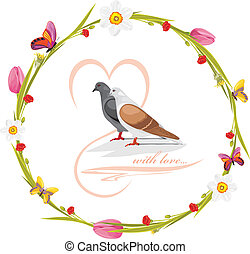Spring wreath with loving doves