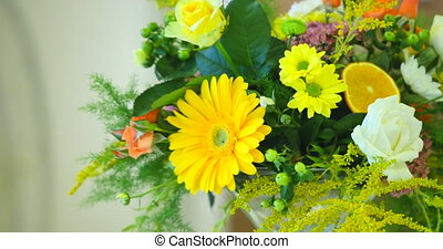 Spring yellow bouquet of flowers