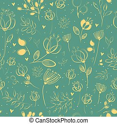 Spring Yellow  Flowers. Vector Seamless Pattern