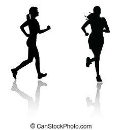 springa, kvinna, silhuett