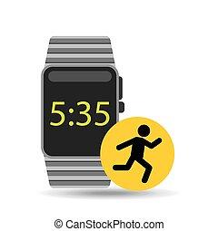 springa, tecken, ur, teknologi, smart, man