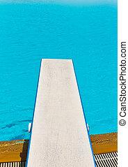 springboard on swimming pool