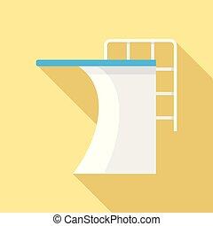 Springboard pool icon, flat style