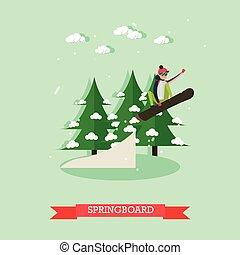 Springboard vector illustration in flat design.