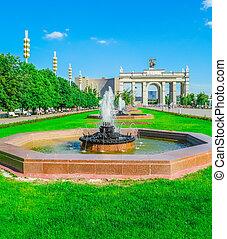 springbrunnar, in, stad parkera