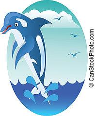 springe, delfin, glade