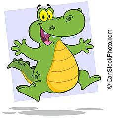 springe, eller, glade, krokodille, aligator