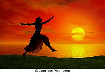 springe, hos, den, solnedgang