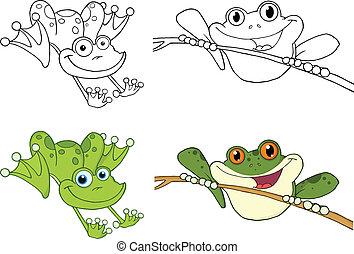 springe, sæt, glade, frøer, samling