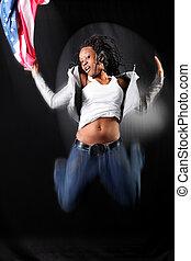 springen, afro-american, tänzer, fahne, usa