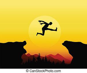 springen, aktiv, silhouette