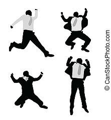springen, aufgeregt, geschäftsmänner