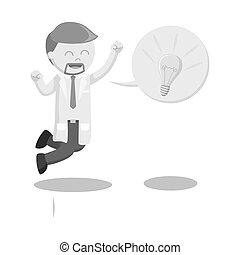 springen, callout, wissenschaftler, idee