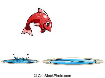 springen, fische, andere, teich, glücklich