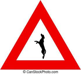 springen, gefahr, hund, zeichen