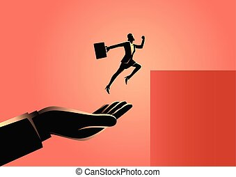 springen, geschäftsfrau, höher, helfende hand