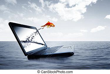 springen, goldfisch, monitor, heraus