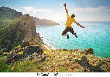 springen, happines, meer, mann