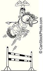 springen, hight, karikatur, reiter, grobdarstellung