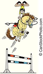 springen, hight, reiter, karikatur