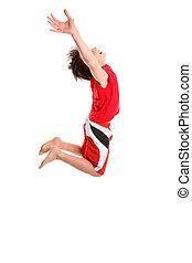 springen, kind, hände, ausgedehnt, zu, himmelsgewölbe