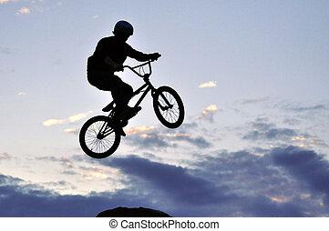springen, machen, bmx fahrrad, reiter