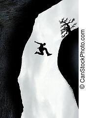 springen, mann, durch, lücke