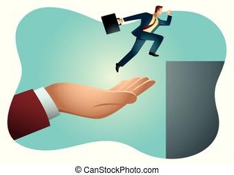 springen, portion, geschäftsmann, höher, hand