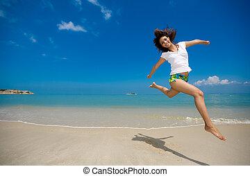 springen, sandstrand, glücklich
