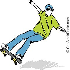 springen, skateboard, abbildung