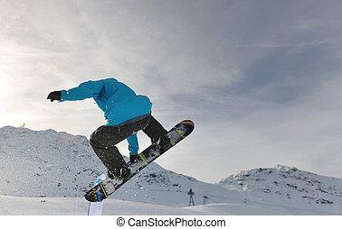 springen, snowboarder, extrem
