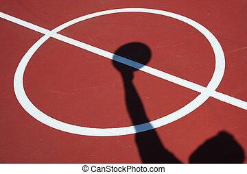 springen, spieler, schatten, basketball ball